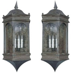 Pair of Enormous Pewter Finished Copper Estate Wall Lanterns