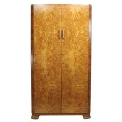 art deco walnut gentlemans wardrobe circa 1930 art deco figured walnut wardrobe vintage