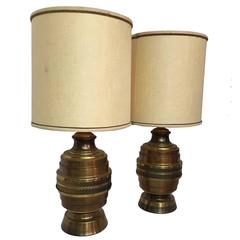 Pair of Copper and Brass Finish Floral Repousse Lamps