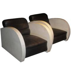 Pair of Art Deco Club Chairs in Parchment and Black Leather