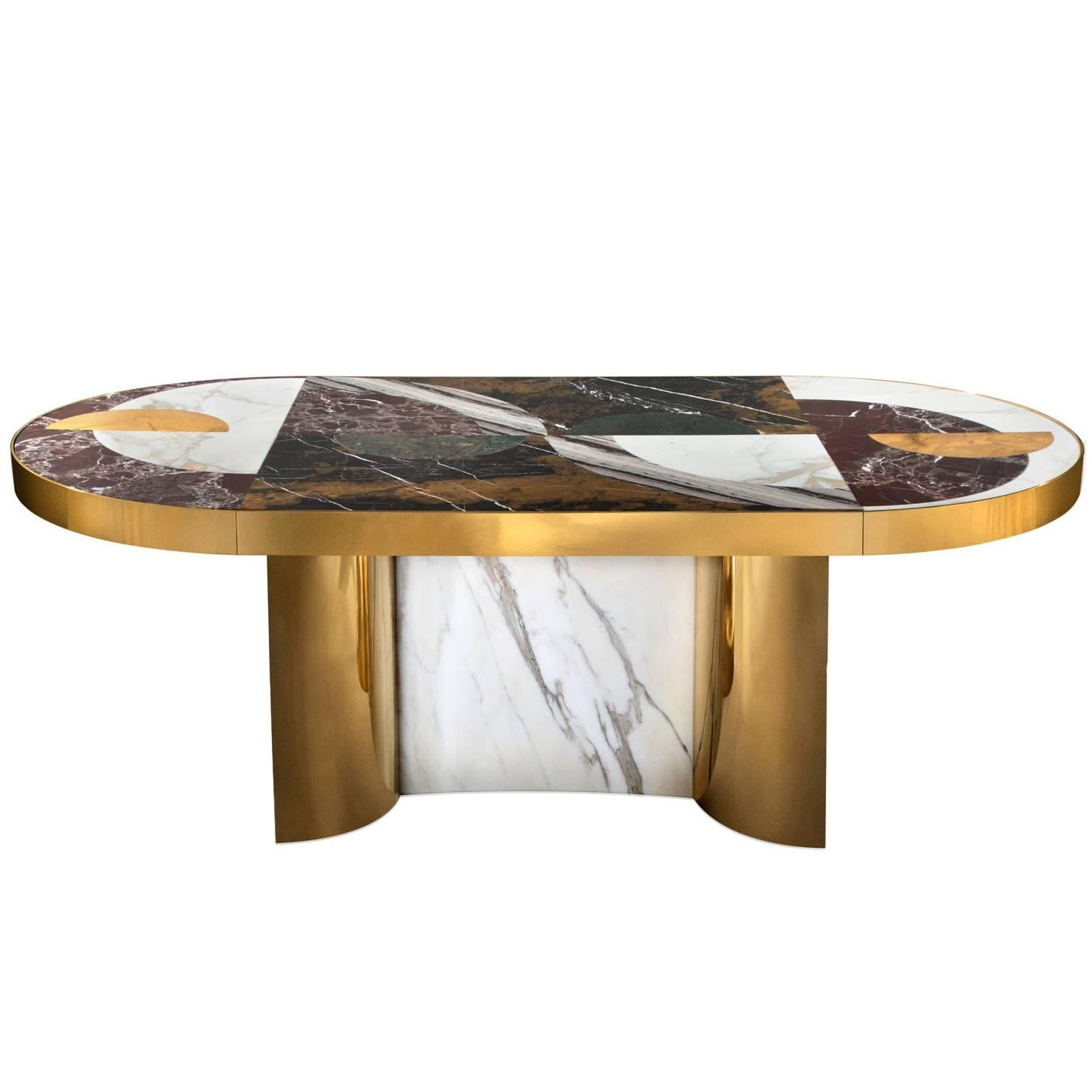 Half Moon Dining Table, Marble and Brass, by Lara Bohinc, In Stock