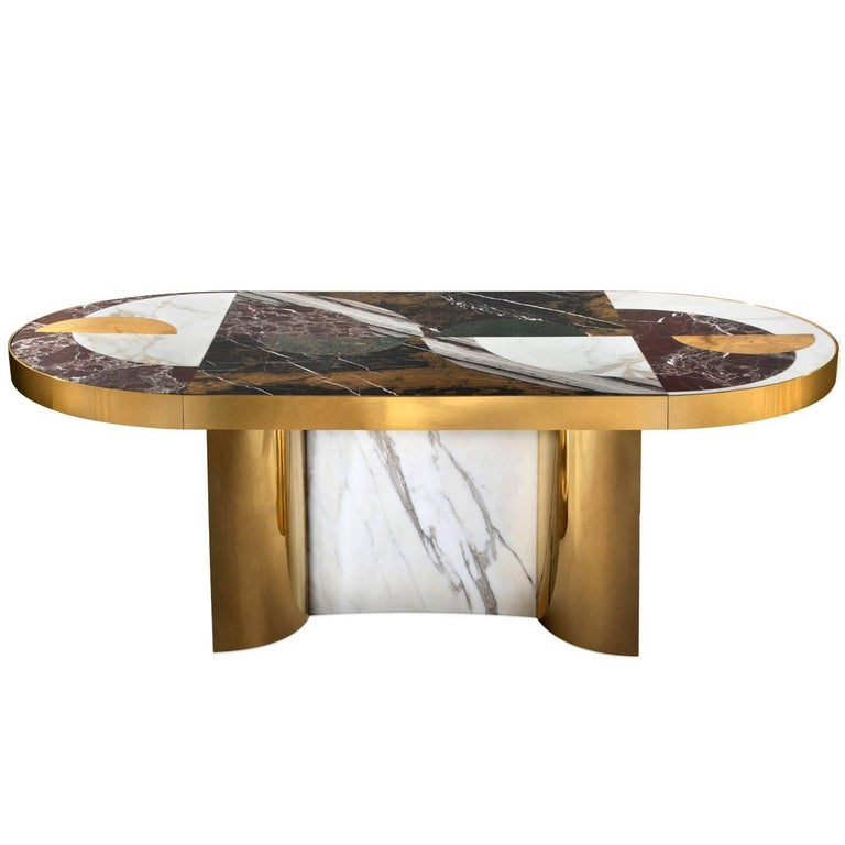 Half Moon Dining Table, Marble and Brass, by Lara Bohinc, In Stock For Sale