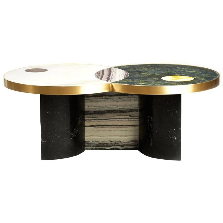 Sun And Moon Marble And Brass Coffee Table For Sale At 1stdibs
