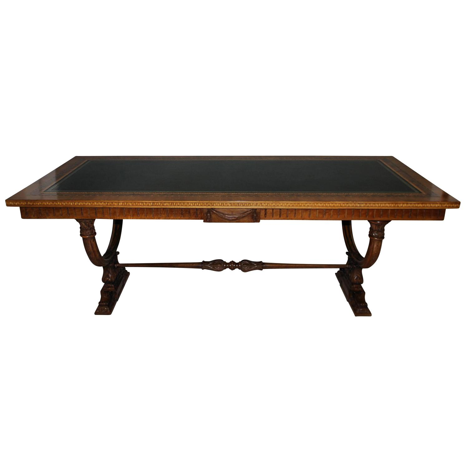 Fine Italian Walnut Library Table At 1stdibs