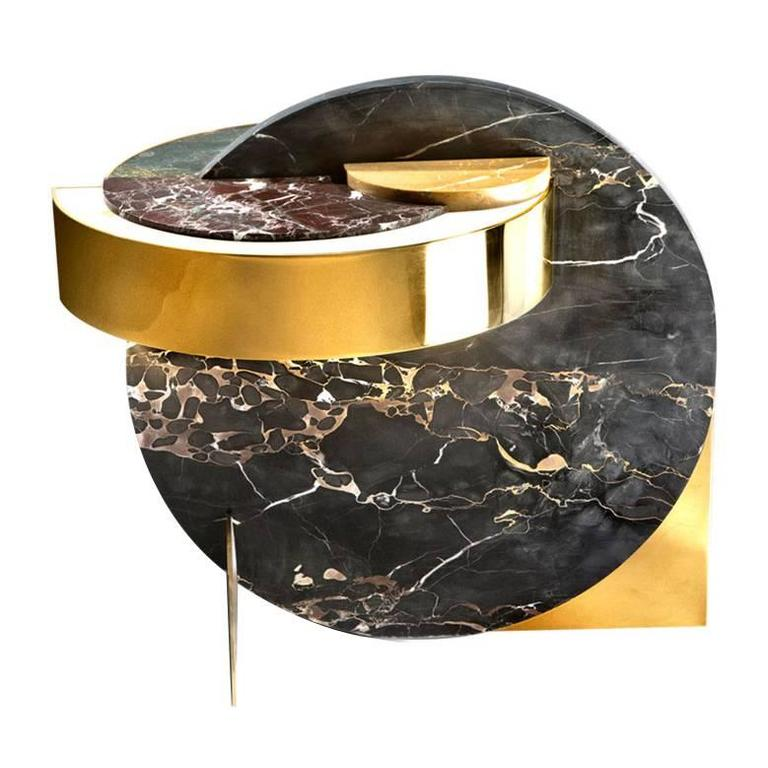 Lunar Full Moon Marble and Brass Side Table For Sale