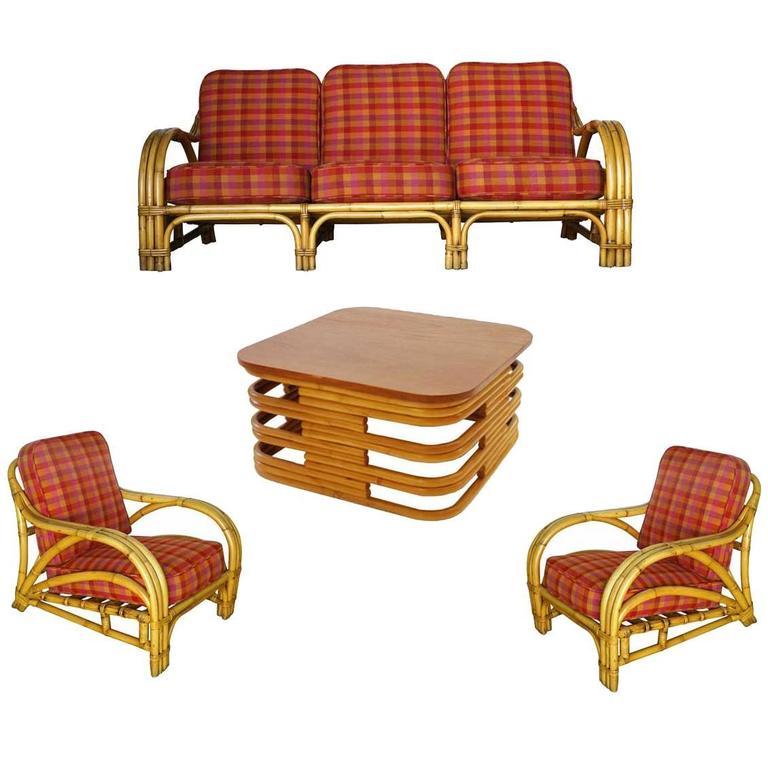 Rare Mid Century Rattan And Mahogany Living Room Set At 1stdibs