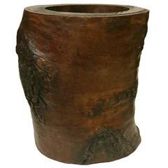 Tree Stump Brush Pot or Planter