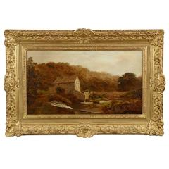 """""""The Sawmill"""" by Robert Gallon, Oil Landscape Painting c. 1884"""