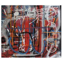 Large Abstract Graffiti Modern Art Painting by Lionel Lamy