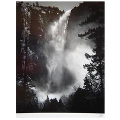 "Ansel Adams Signed Original Gelatin Silver Print, ""Bridalveil Fall, Yosemite"""