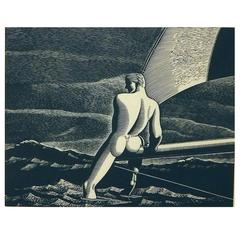 "Rockwell Kent Original Wood Engraving, 1931 ""Fair Wind"""