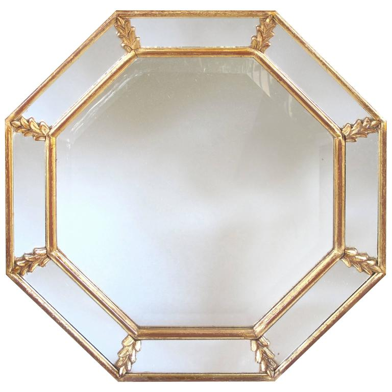 Shimmering French 1960s Giltwood Octagonal Mirror with Foliate Elements For Sale