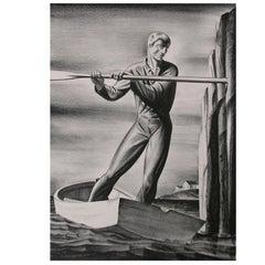 "Rockwell Kent Original Stone Lithograph, 1929, ""The Boatman"""
