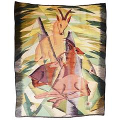 """Mountain Goats,"" Art Deco Tapestry Masterpiece"