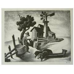 Thomas Hart Benton Original Stone Lithograph, 1938, Homestead in the Ozarks