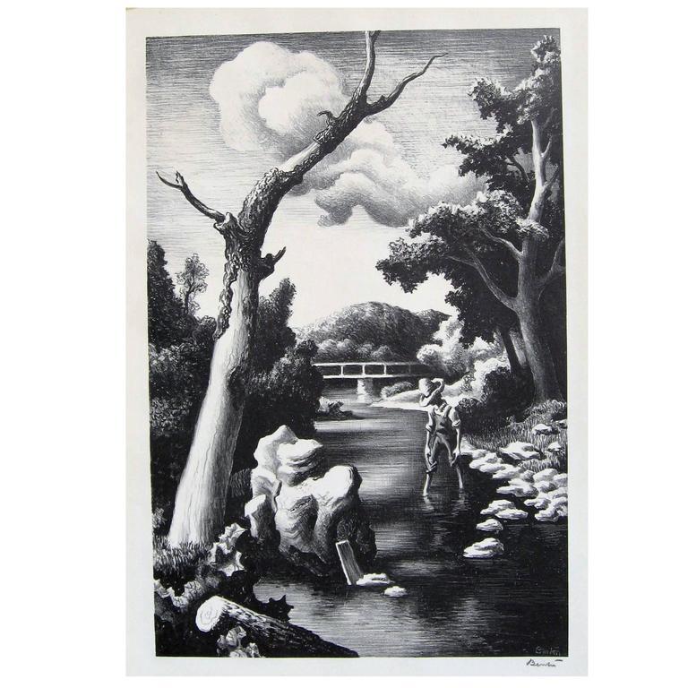 "thomas hart benton original stone lithograph, 1939 ""shallow creek ..."