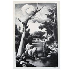 "Thomas Hart Benton Original Stone Lithograph, 1939 ""Shallow Creek"""