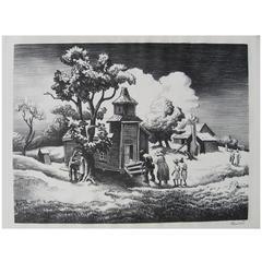 "Thomas Hart Benton Original Stone Lithograph, 1939, ""Sunday Morning"""