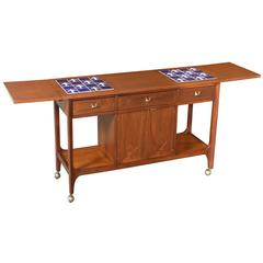 """Broyhill """"Brasilia"""" Expanding Serving Cart with Tile Top"""