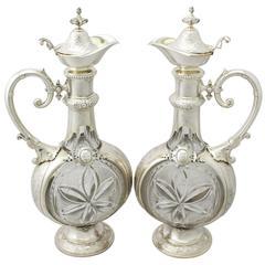 German Silver and Cut-Glass Claret Jug, Antique, circa 1880