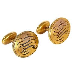 Art Deco 10-Karat Gold Monogrammed Cuff Links