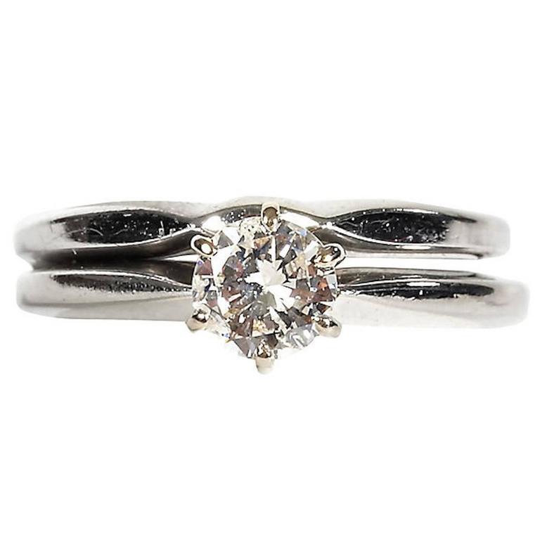 14-Karat White Gold and Diamond Ring Set