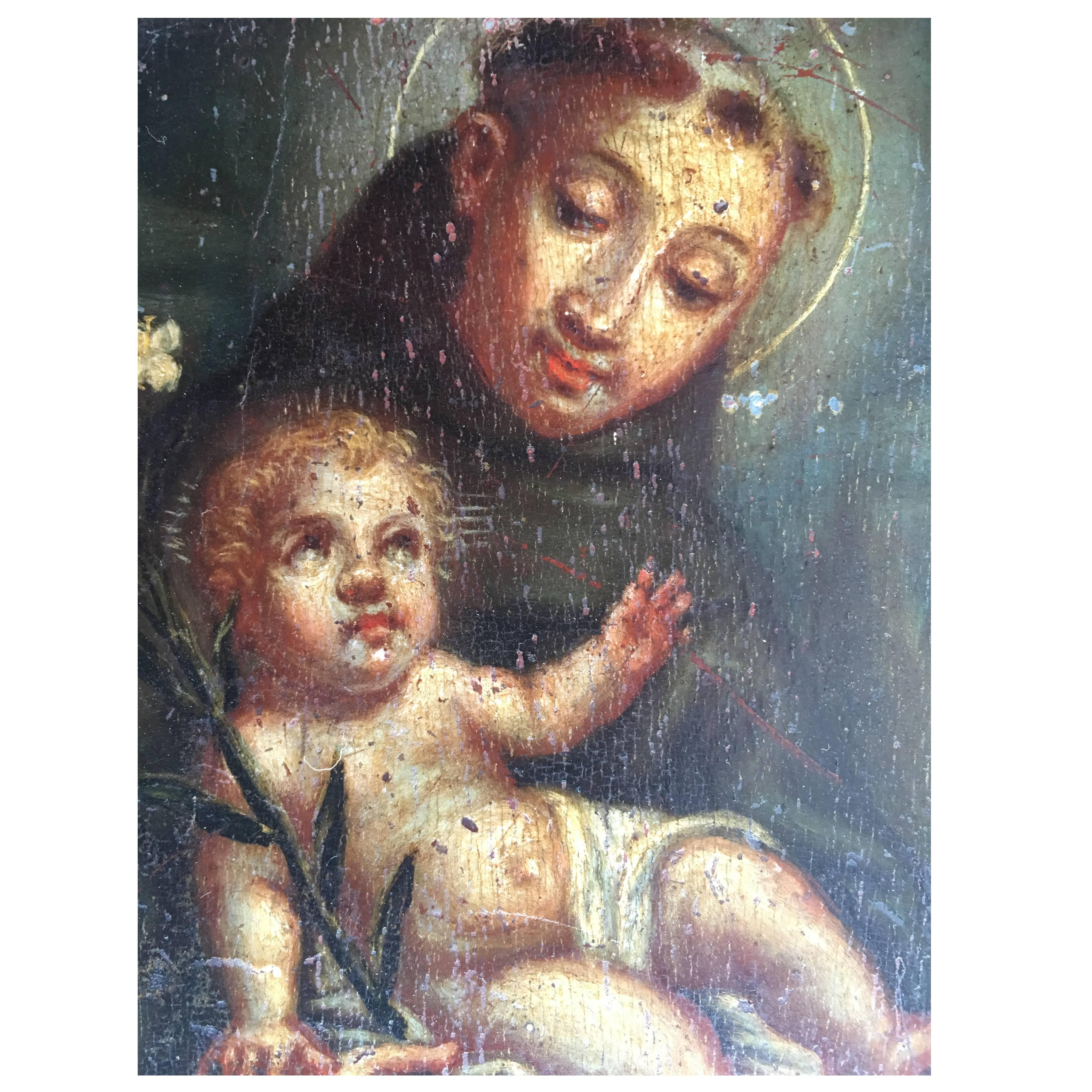 Original Oil on Panel of St. Anthony of Padua , by Unidentified Artist