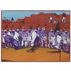 Fritz Scholder Original Color Lithograph, 1978, Dancers at Zuni