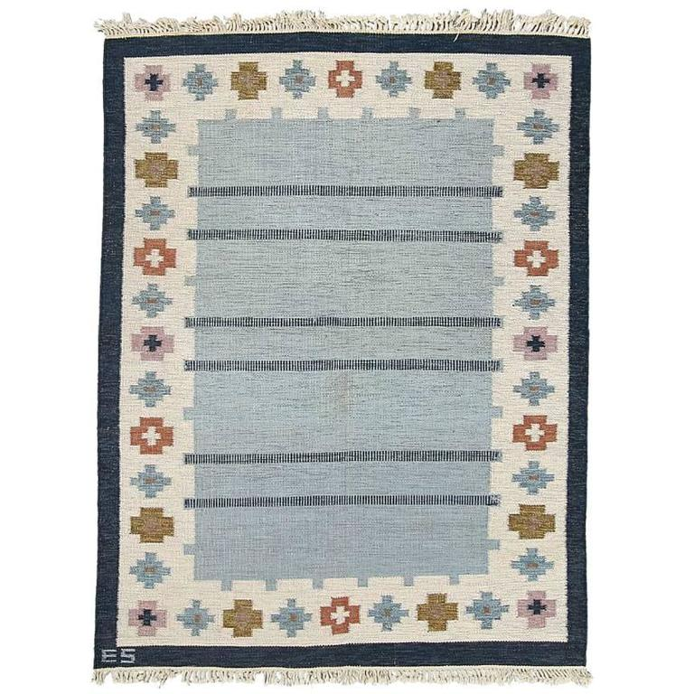Swedish Rölakan Carpet with Geometric Patterns