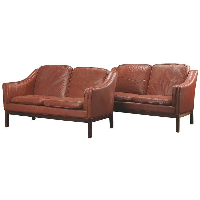 pair of danish modern leather two seat sofas at 1stdibs