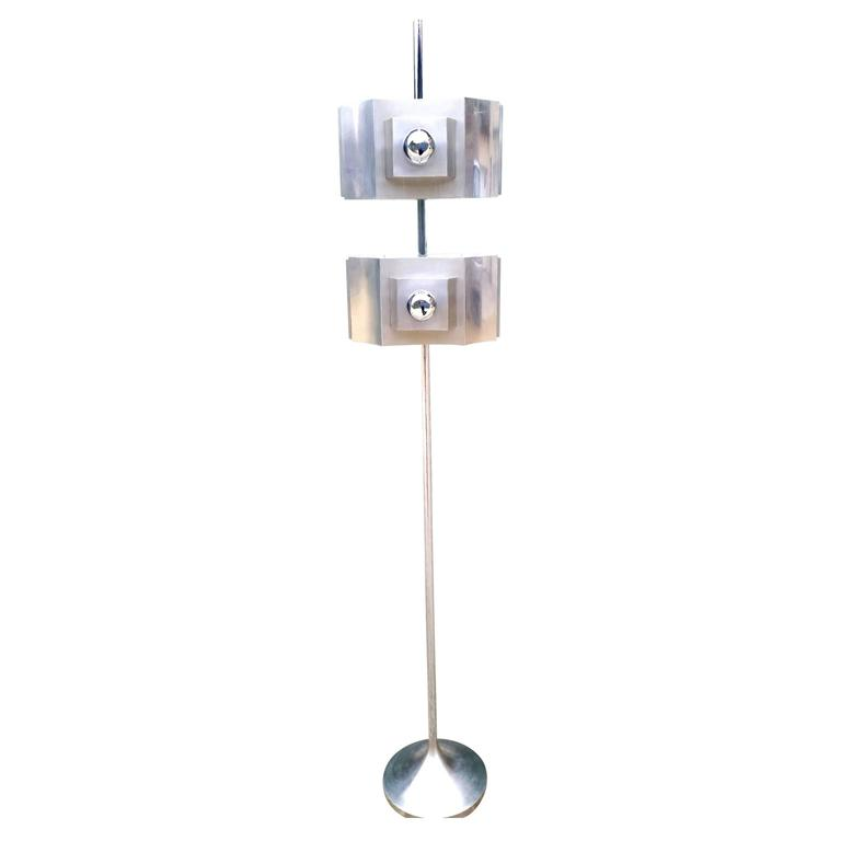 Rare Chrome Floor Lamp with a Tulip Shaped Base Attribued to Sciolari 1970s