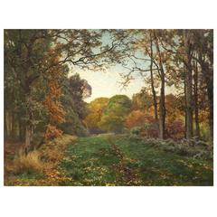 'Forest Path' Oil on Canvas by Heinrich Bohmer