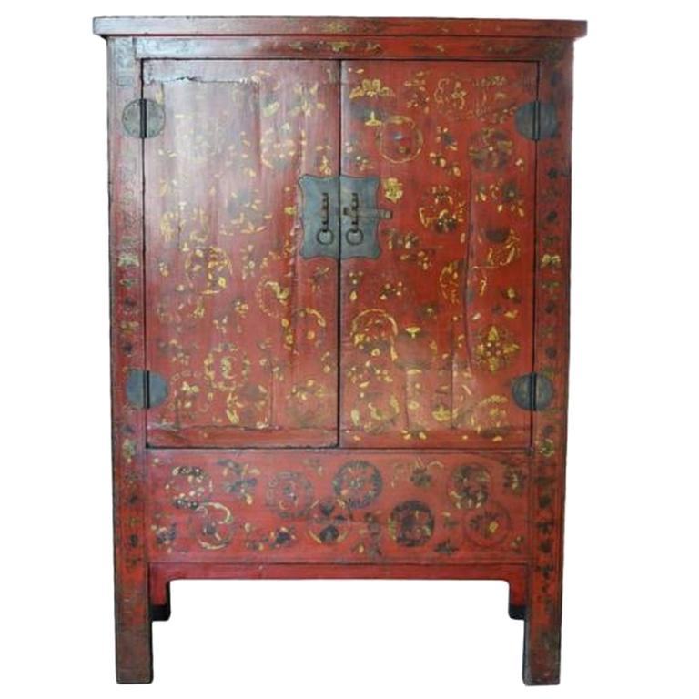 Antique Chinese Chinoiserie Red Lacquer Cabinet Or Armoire