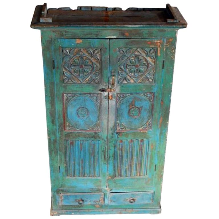 Vintage Goan Indian Painted Cabinet, Hand Painted Cabinet Indian
