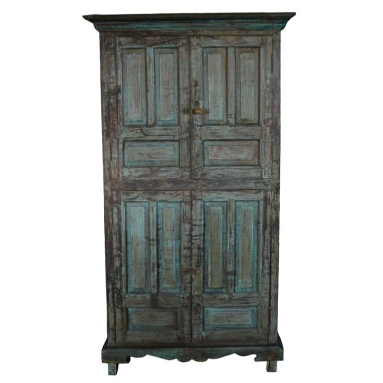 Vintage Goan Indian Hand Painted Cabinet With Four Doors And