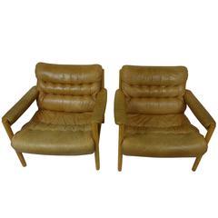 Pair of Bruno Matthson Easy Chairs