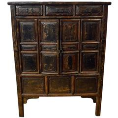 Antique Brown Lacquered Chinese Cabinet with Doors and Drawers from the 1800s