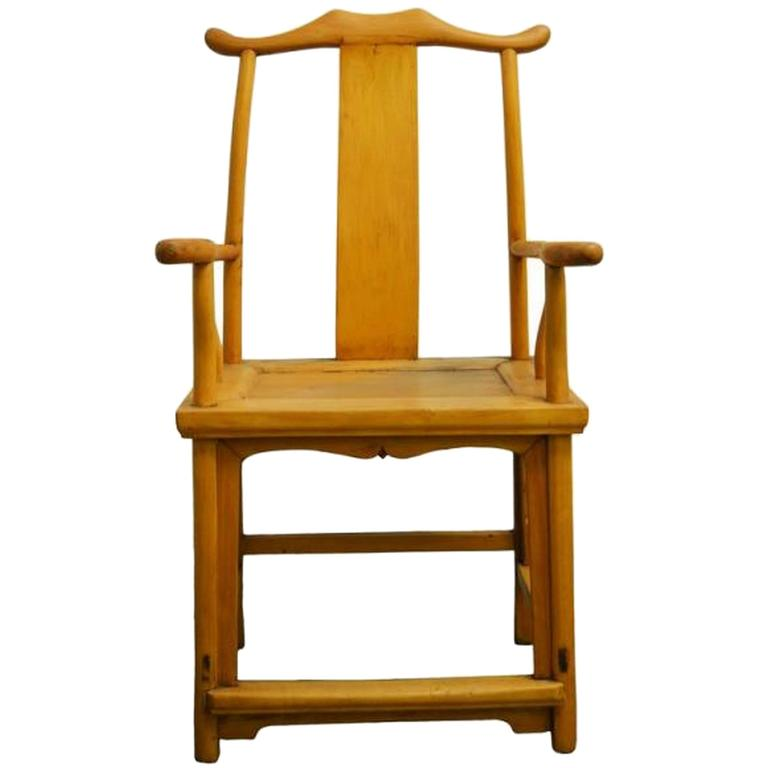 Antique Natural Wood Lamp Hanger Side Chair from China, 19th Century