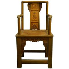 19th Century Chinese Lacquered Carved Elmwood Chair with Traditional Motifs