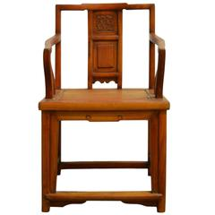 Antique Chinese Carved and Lacquered Elmwood Chair From the 19th Century