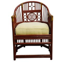 Chinese Side Chair with Latticed Rattan Back and Comfortable Cushion