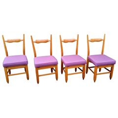 Set of Four Chairs by Guillerme et Chambron, 1960s