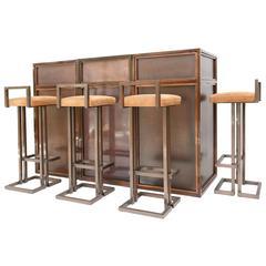 Maison Jansen Rose Metal Bar Set