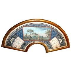 Five 18th Century Roman Gouaches, Projects for Fans for the Grand Tour