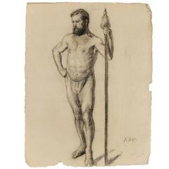 Academy Charcoal Studies of Mens by Swedish Artist, circa 1800