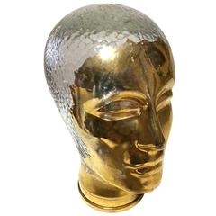 Very Rare Gold and Glass Head Sculpture Piero Fornasetti