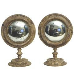 Couple of Wunderkammer Curved Round Mirrors