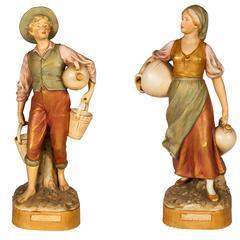 Pair of Royal Dux Ceramic Figures