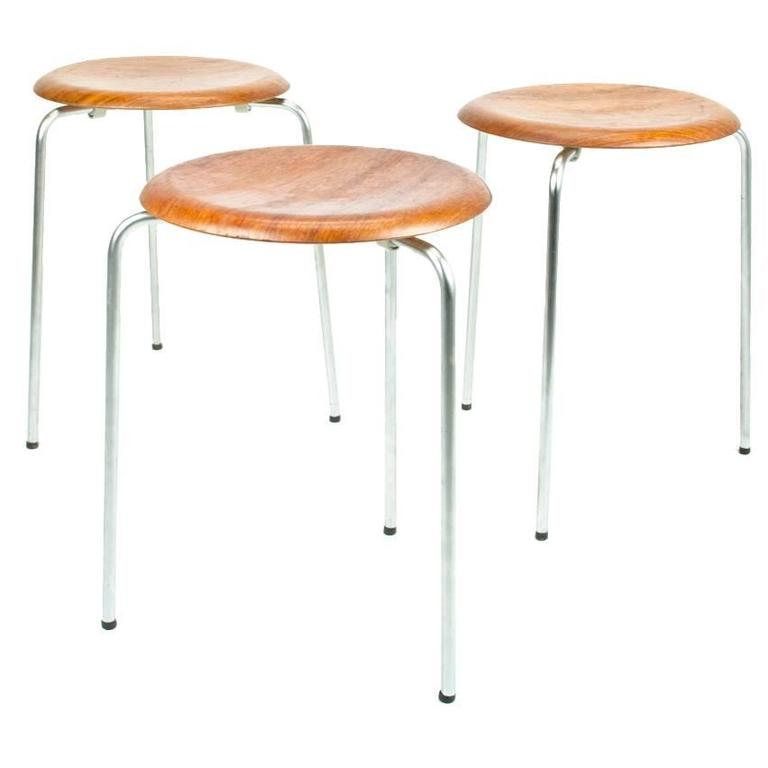 Set Of Three Danish Dot Stools Model 3170 By Arne
