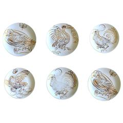 Set of Six Piero Fornasetti Porcelain Uccelli Calligrafici Bird Plates, 1962